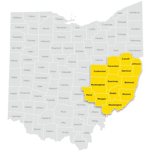 Map of Southeastern region of Ohio Help Me Grow