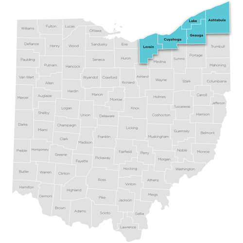 Map of Northeastern region of Ohio Help Me Grow