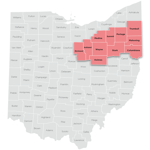Map of Eastern region of Ohio Help Me Grow
